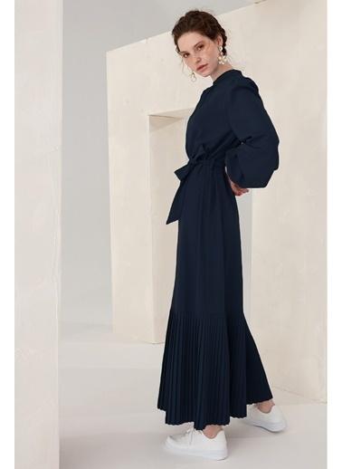 Vivencia Belden Bağlamalı Plise Detaylı Kadın Elbise Indigo Lacivert